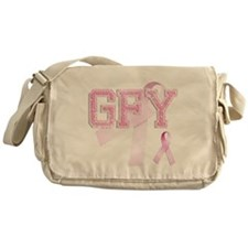 GFY initials, Pink Ribbon, Messenger Bag