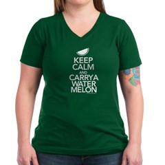 Keep Calm Carry a Watermelon Women's V-Neck Tee