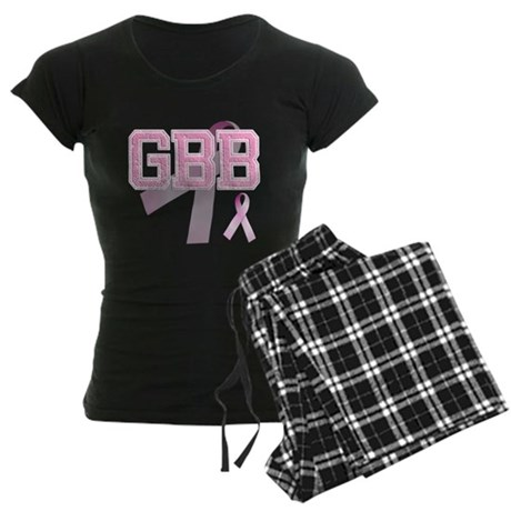 GBB initials, Pink Ribbon, Women's Dark Pajamas
