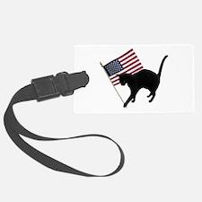 Cat American Flag Luggage Tag