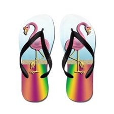 Flamingos on the Beach Flip Flops Flip Flops