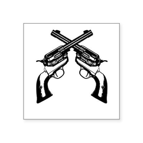 "Guns Crossed Square Sticker 3"" x 3"""