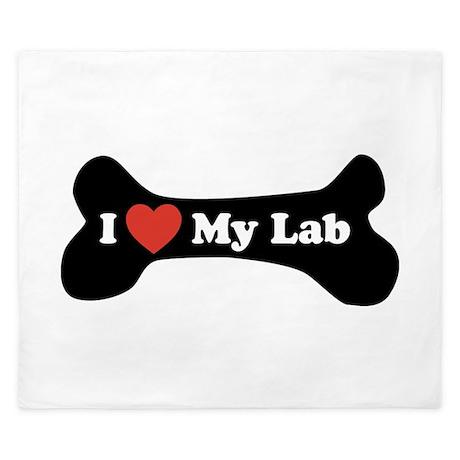 I Love My Lab - Dog Bone King Duvet