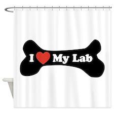 I Love My Lab - Dog Bone Shower Curtain