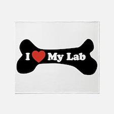 I Love My Lab - Dog Bone Throw Blanket