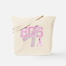 EGS initials, Pink Ribbon, Tote Bag