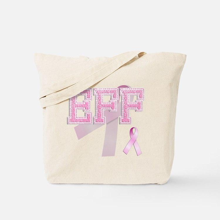 EFF initials, Pink Ribbon, Tote Bag