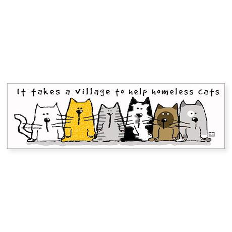 Takes A Village Help Cats Sticker (Bumper)