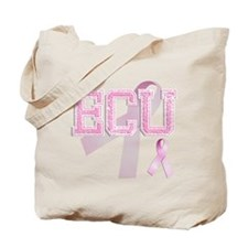 ECU initials, Pink Ribbon, Tote Bag