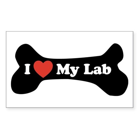 I Love My Lab - Dog Bone Sticker (Rectangle)