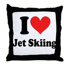 I Heart Jet Skiing Throw Pillow