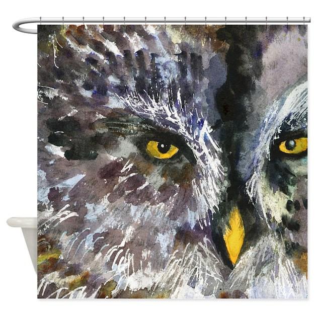 Owl Eyes Yellow Black Gray Bathroom Shower Curtain By Schulmanart