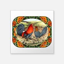 "Beautiful Game Fowl Square Sticker 3"" x 3&quo"