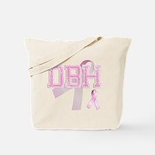 DBH initials, Pink Ribbon, Tote Bag