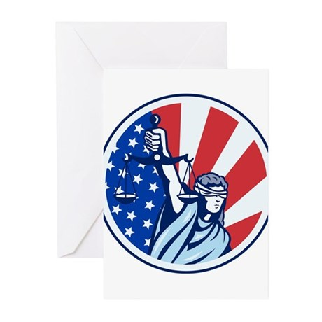 American Lady Holding Scales of Justice Flag retro