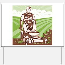 Gardener Landscaper Riding Lawn Mower Retro Yard S