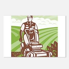 Gardener Landscaper Riding Lawn Mower Retro Postca