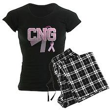 CNG initials, Pink Ribbon, Pajamas