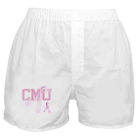 CMU initials, Pink Ribbon, Boxer Shorts