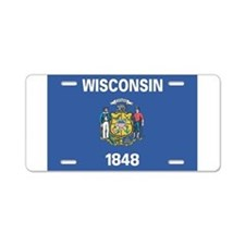 Wisconsin State Flag Aluminum License Plate