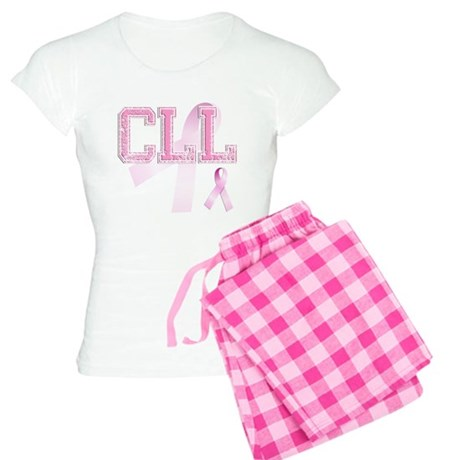 CLL initials, Pink Ribbon, Women's Light Pajamas