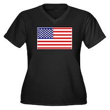 USA American Flag Women's Plus Size V-Neck Dark T-
