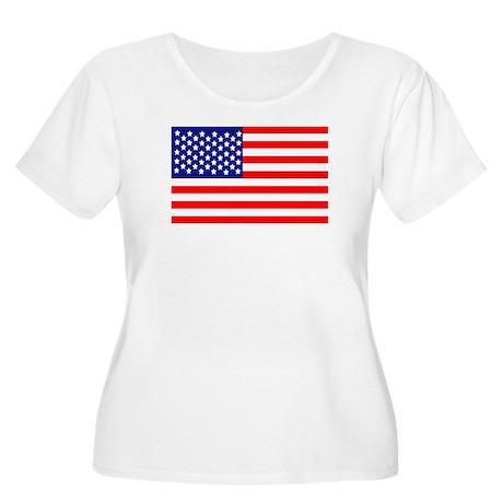 USA American Flag Women's Plus Size Scoop Neck T-S