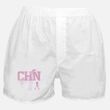 CHN initials, Pink Ribbon, Boxer Shorts