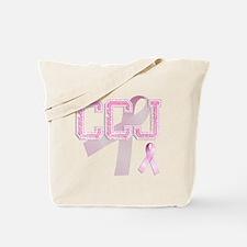 CCJ initials, Pink Ribbon, Tote Bag