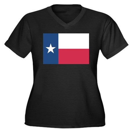 Texas State Flag Women's Plus Size V-Neck Dark T-S