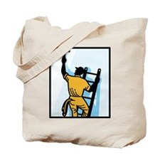 Window Cleaner Worker Cleaning Ladder Retro Tote B