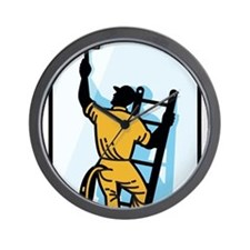 Window Cleaner Worker Cleaning Ladder Retro Wall C