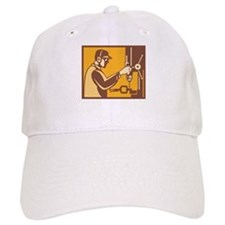 Factory Worker Operator With Drill Press Retro Baseball Cap