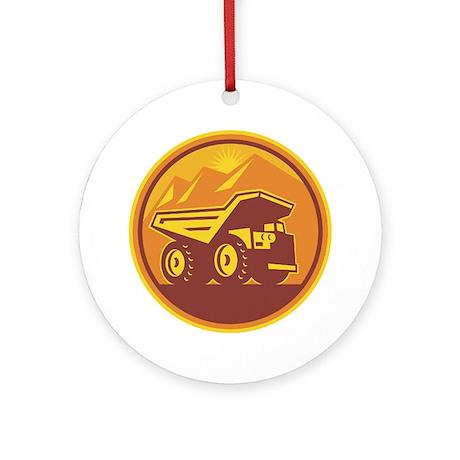 Mining Dump Truck Retro Ornament (Round)