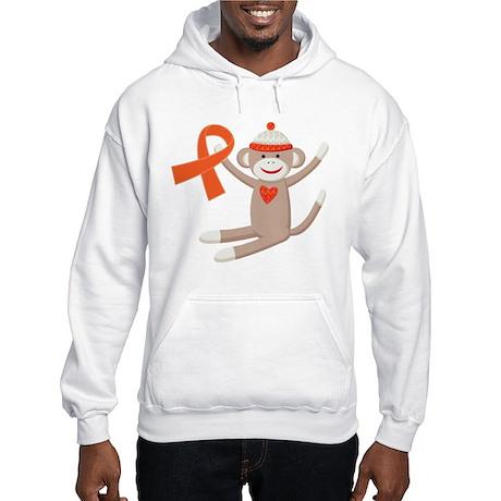 Orange Ribbon Sock Monkey Hooded Sweatshirt