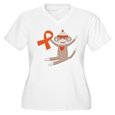 Orange Ribbon Sock Monkey T-Shirt