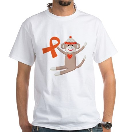 Orange Ribbon Sock Monkey White T-Shirt