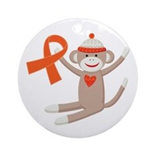Orange Ribbon Sock Monkey Ornament (Round)