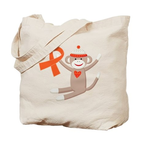 Orange Ribbon Sock Monkey Tote Bag