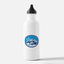 Snow Plow Truck Retro Sports Water Bottle