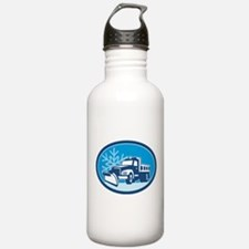 Snow Plow Truck Retro Water Bottle