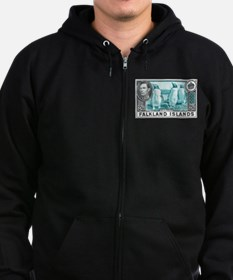 1938 Falkland Islands Gentoo Penguins Stamp Zip Hoodie