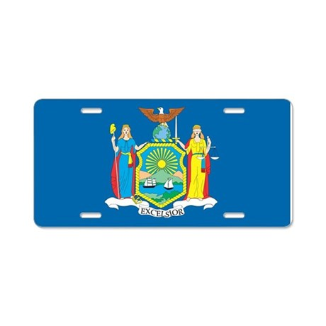 New York State Flag Aluminum License Plate By Flagsonflags