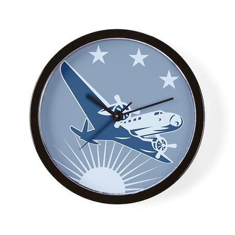 Vintage Propeller Airplane Retro Wall Clock