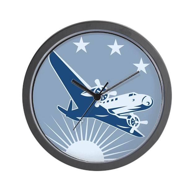 Propeller Wall Clock : Vintage propeller airplane retro wall clock by retroartist