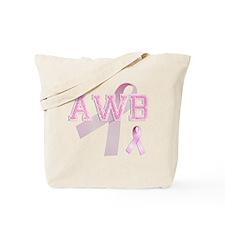 AWB initials, Pink Ribbon, Tote Bag