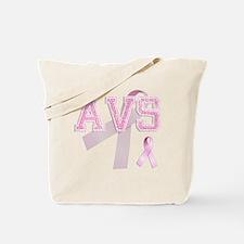AVS initials, Pink Ribbon, Tote Bag