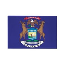 Michigan State Flag Rectangle Magnet (10 pack)