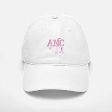 ANC initials, Pink Ribbon, Baseball Baseball Cap