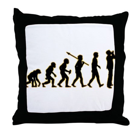 Harmonica Player Throw Pillow by Apes2Man